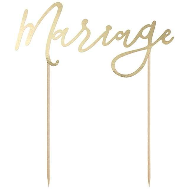 """Dekoracja na tort """"Mariage"""", złota, PartyDeco, 22,5 cm"""
