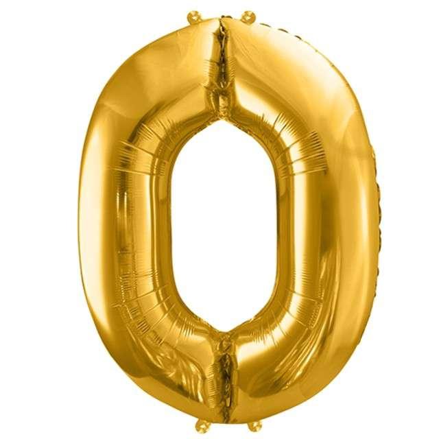"""Balon foliowy cyfra 0, 34"""", PartyDeco, złota"""