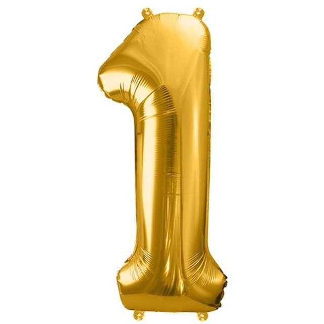 """Balon foliowy cyfra 1, 34"""", PartyDeco, złota"""