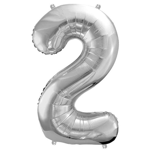 """Balon foliowy cyfra 2, 34"""", PartyDeco, srebrna"""