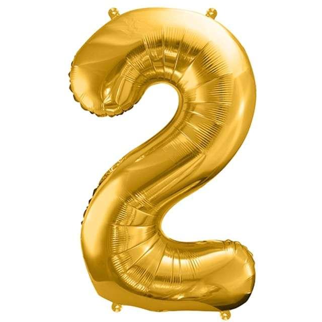 """Balon foliowy cyfra 2, 34"""", PartyDeco, złota"""