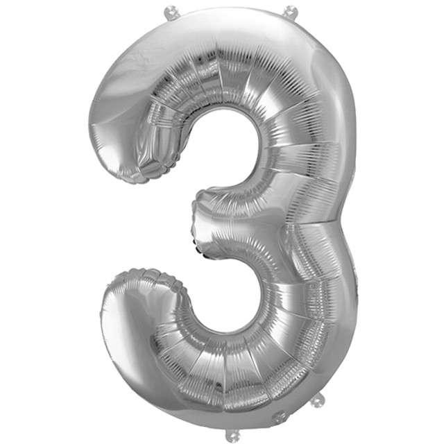 """Balon foliowy cyfra 3, 34"""", PartyDeco, srebrna"""