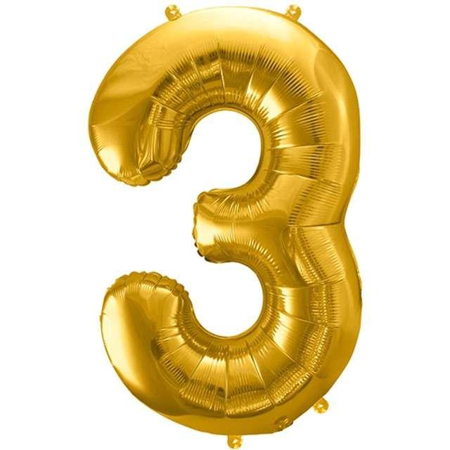 """Balon foliowy cyfra 3, 34"""", PartyDeco, złota"""