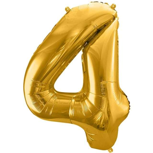 """Balon foliowy cyfra 4, 34"""", PartyDeco, złota"""