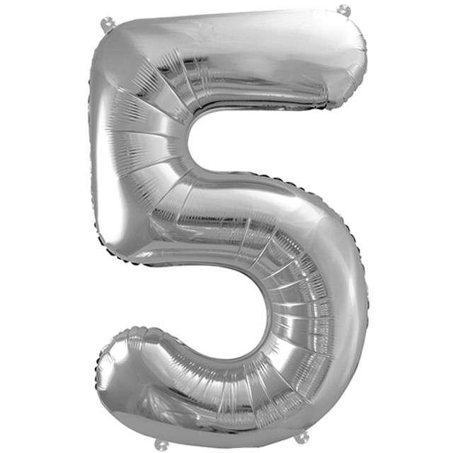 """Balon foliowy cyfra 5, 34"""", PartyDeco, srebrna"""