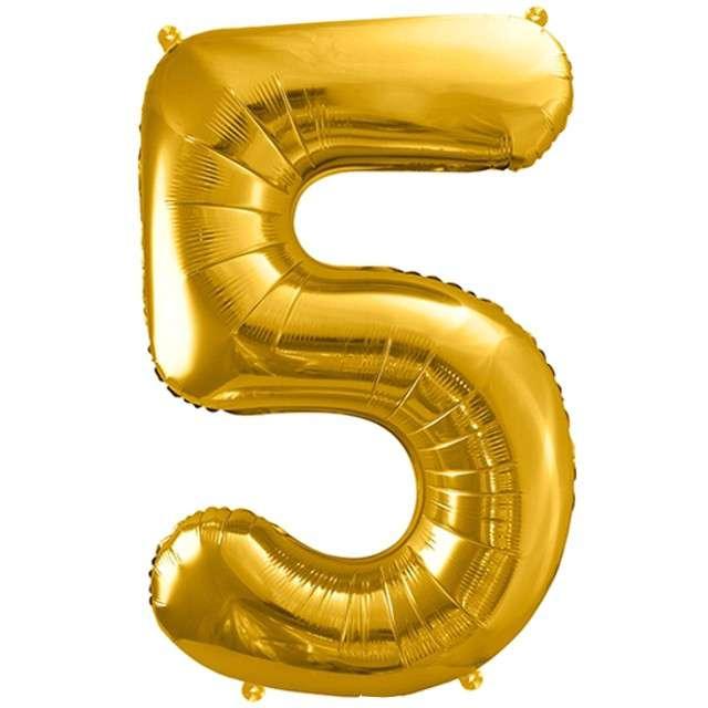 """Balon foliowy cyfra 5, 34"""", PartyDeco, złota"""