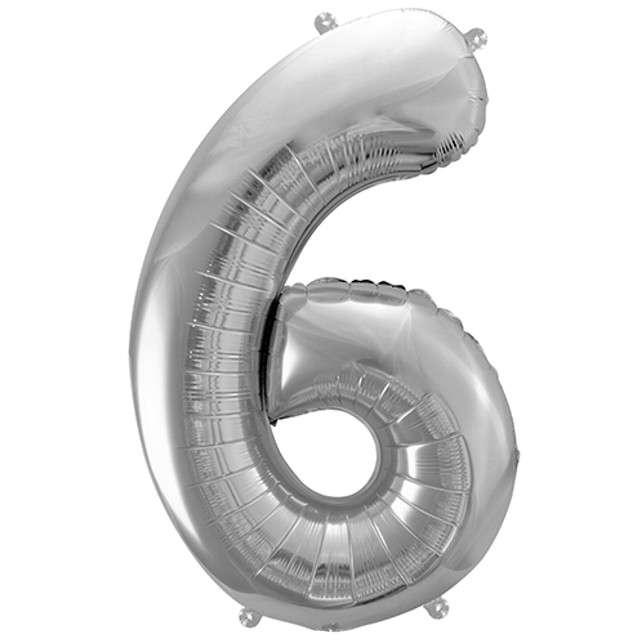 """Balon foliowy cyfra 6, 34"""", PartyDeco, srebrna"""