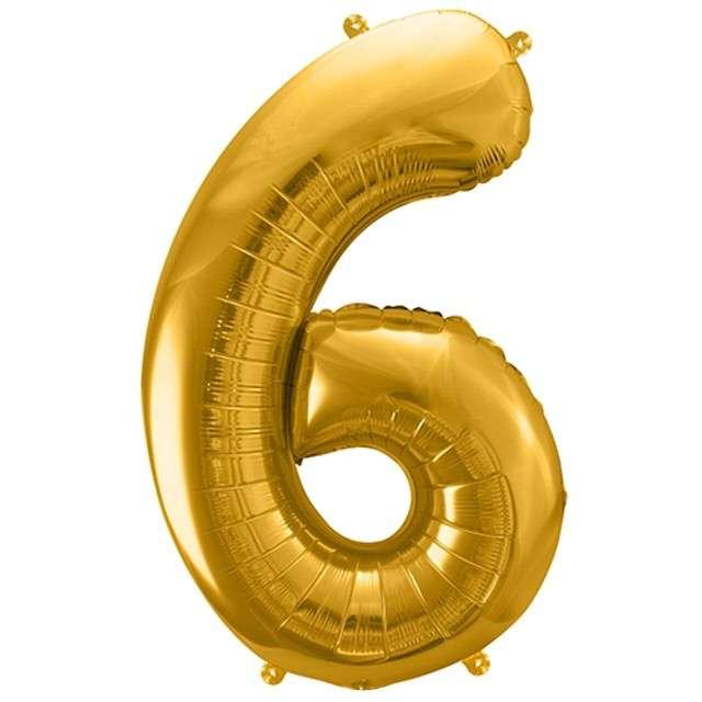 """Balon foliowy cyfra 6, 34"""", PartyDeco, złota"""