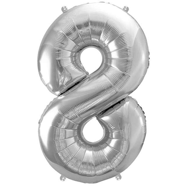 """Balon foliowy cyfra 8, 34"""", PartyDeco, srebrna"""