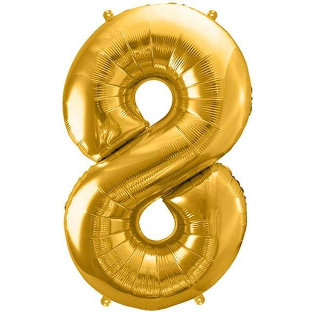 """Balon foliowy cyfra 8, 34"""", PartyDeco, złota"""