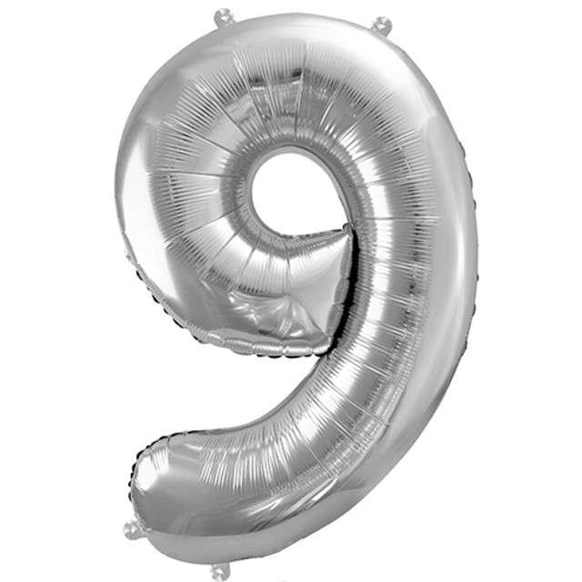 """Balon foliowy cyfra 9, 34"""", PartyDeco, srebrna"""