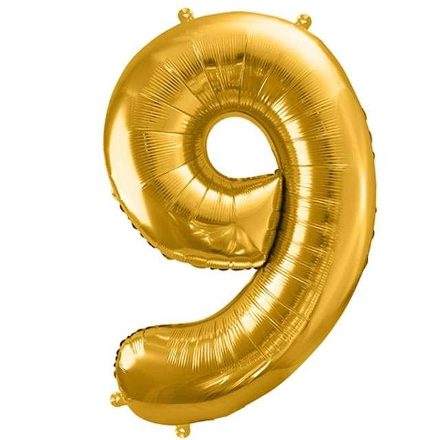 """Balon foliowy cyfra 9, 34"""", PartyDeco, złota"""