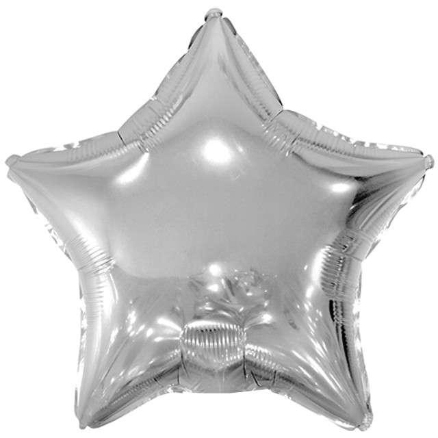 "Balon foliowy ""Gwiazda"", srebrny, PartyDeco, 19"" STR"