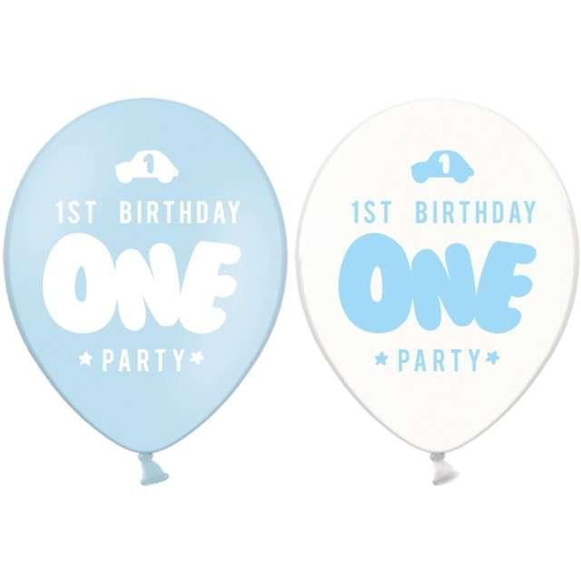 """Balony """"Roczek - 1 urodziny"""", błękit i transp., Amscan, 12"""", 50szt"""