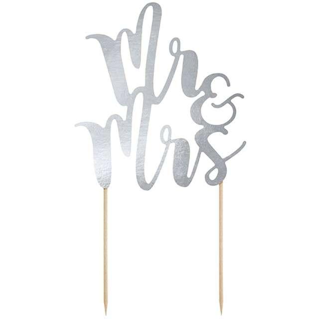 "Dekoracja na tort ""Mr & Mrs"", srebrna, PartyDeco, 25,5 cm"