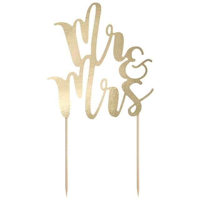"""Dekoracja na tort """"Mr & Mrs"""", złota, PartyDeco, 25,5 cm"""