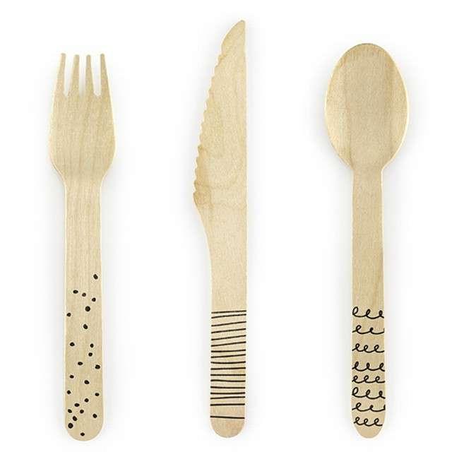"""Sztućce drewniane """"Classic"""", czarne, 16 cm, 18 szt"""
