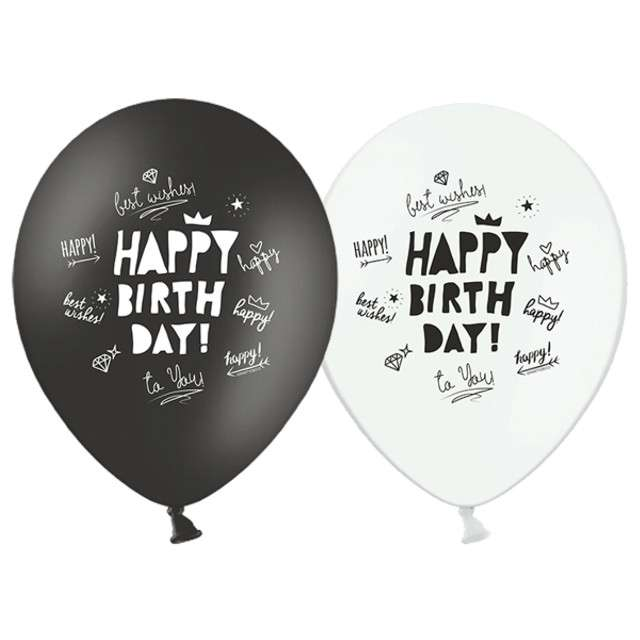 "Balony 12"", ""Happy Birthday"", STRONG, black white mix,  6 szt"