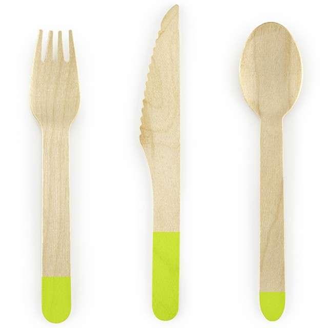 """Sztućce drewniane """"Classic"""", zielone jasne, 16 cm, 18 szt"""