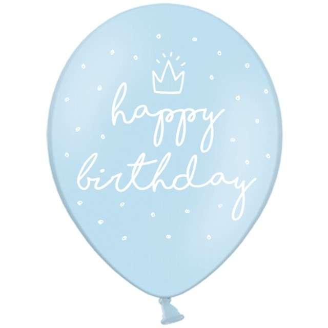 "Balony ""Happy Birthday"", błękitne, 12"" STRONG,   6 szt"