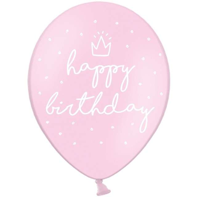 "Balony ""Happy Birthday"", różowe, 12"" STRONG,   6 szt"
