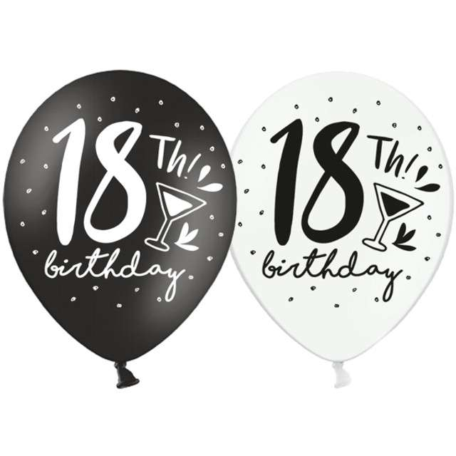 "Balony ""18 - 18th Birthday"", mix, 12"", STRONG,   6 szt"