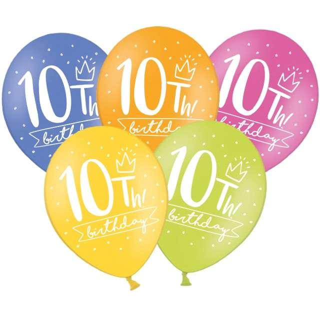 "Balony ""10 - My 10th Birthday"", mix, 12"", STRONG,   6 szt"