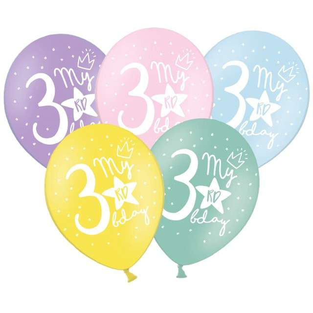 "Balony ""3 - My 3rd Birthday"", mix, 12"", STRONG,   6 szt"