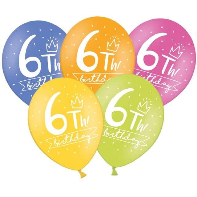 "Balony ""6 - My 6th Birthday"", mix, 12"", STRONG,   6 szt"