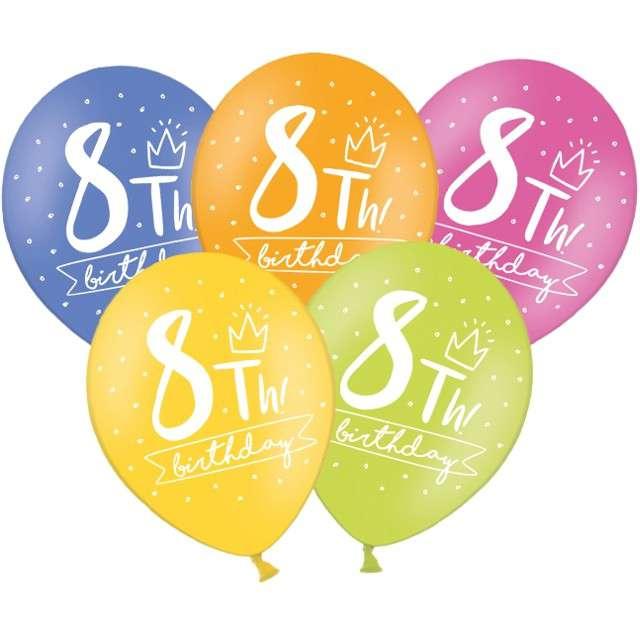 "Balony ""8 - My 8th Birthday"", mix, 12"", STRONG,   6 szt"