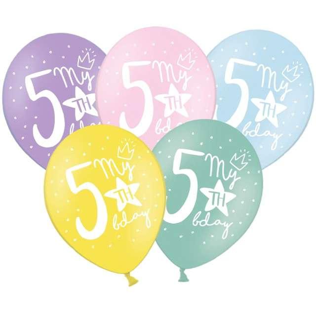 "Balony ""5 - My 5th Birthday"", mix, 12"", STRONG,  50 szt"