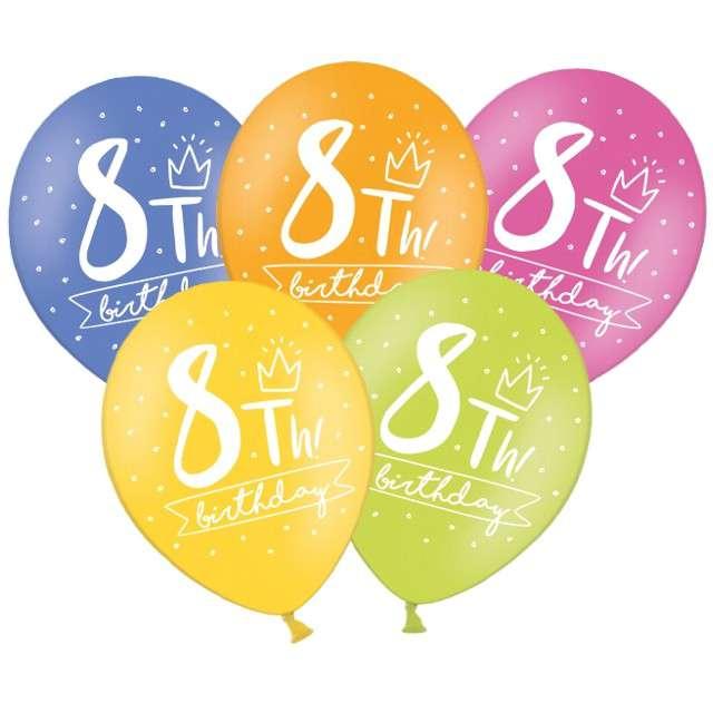"Balony ""8 - My 8th Birthday"", mix, 12"", STRONG,  50 szt"