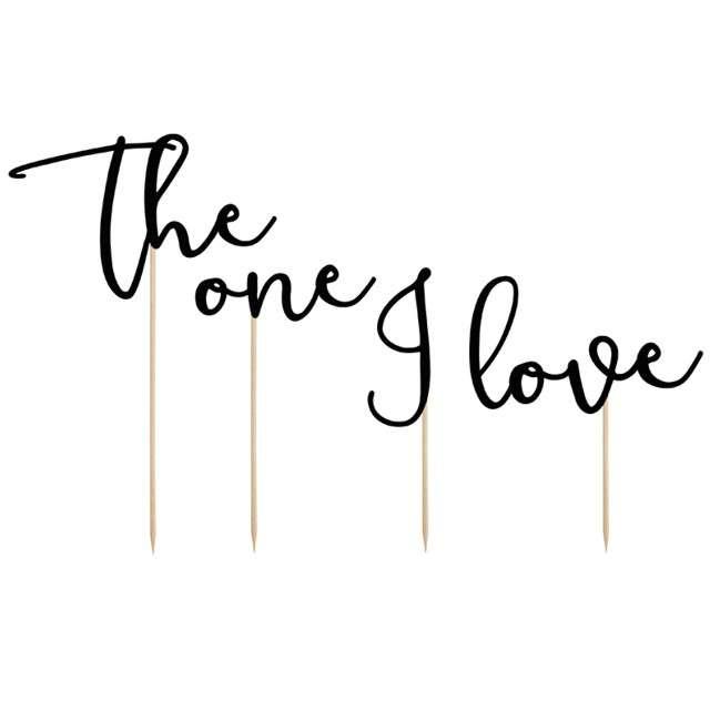 """Dekoracja na tort """"The one I Love"""", czarna, PartyDeco, 15-24 cm, 4 szt"""