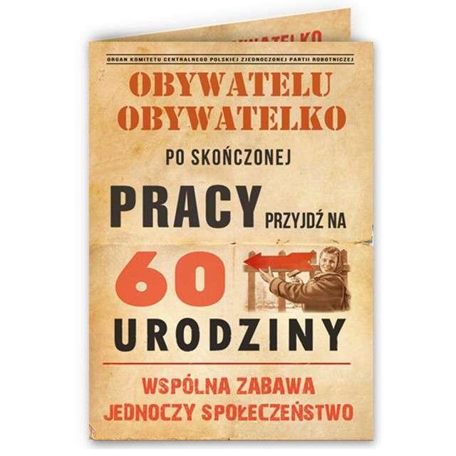 """Zaproszenia urodzinowe """"Obywatelu - 60 Urodziny"""", 10 szt"""