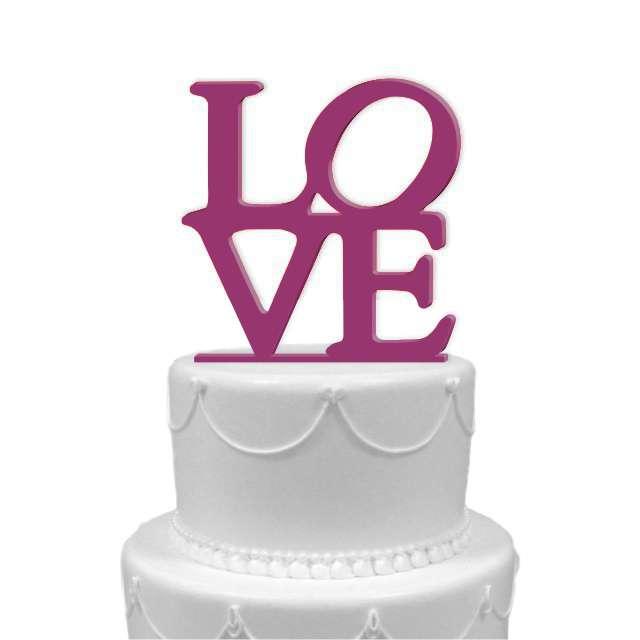 """Dekoracja na tort """"LOVE"""", fuksja, 11 cm"""