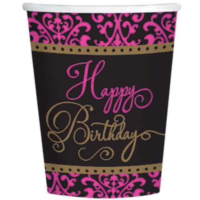 """Kubeczki papierowe """"Happy Birthday Fabulous"""", 266 ml, 18 szt"""