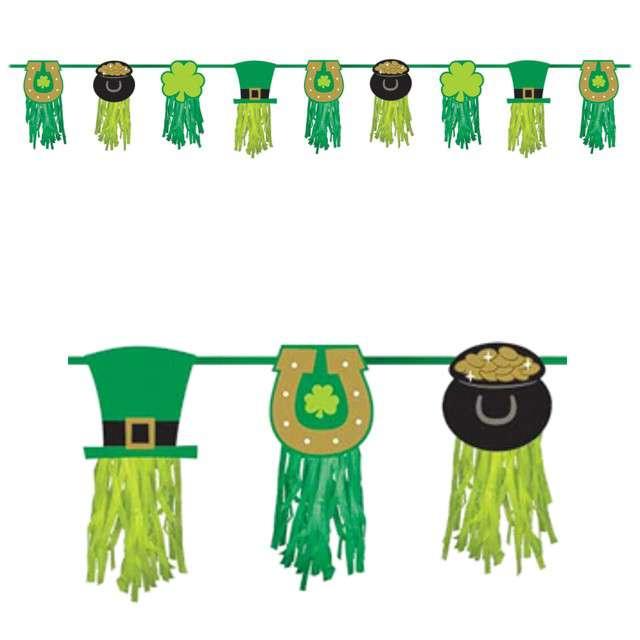 """Girlanda """"Święty Patryk - Frędzle"""", zielona, AMSCAN, 243 cm"""