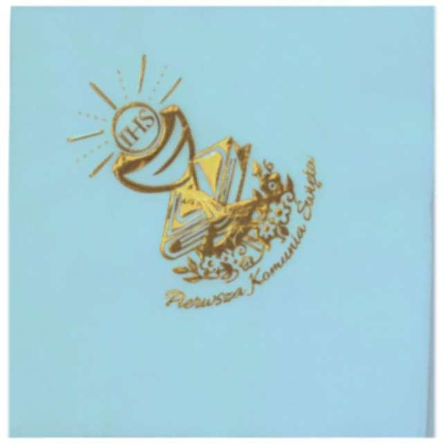 Serwetki 33 cm, komunia, błękitne, złoty nadruk, 20 szt