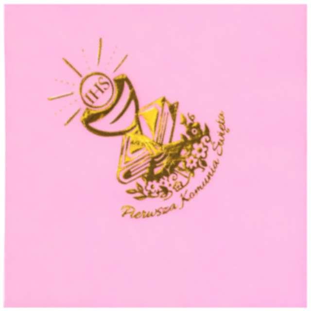 Serwetki 33 cm, komunia, różowe, złoty nadruk, 20 szt