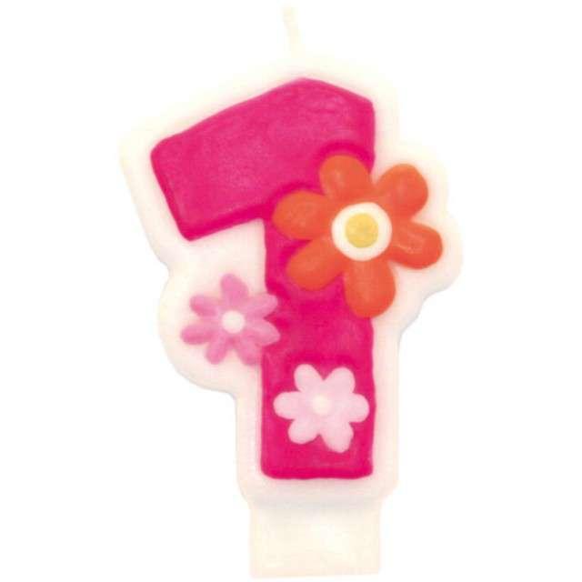 """Świeczka na tort """"Pink daisy 1"""", AMSCAN"""