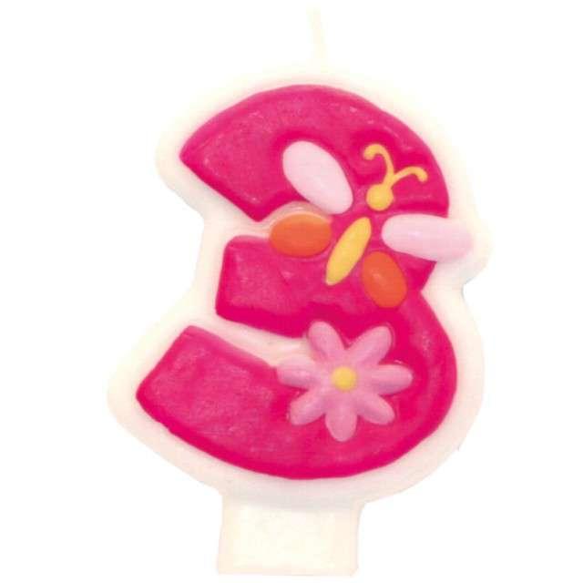 """Świeczka na tort """"Pink daisy 3"""", AMSCAN"""