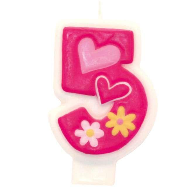 """Świeczka na tort """"Pink daisy 5"""", AMSCAN"""