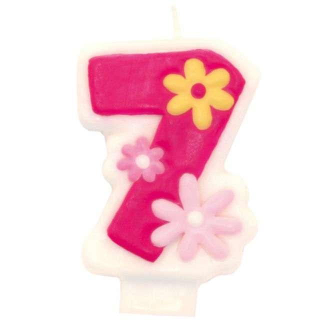 """Świeczka na tort """"Pink daisy 7"""", AMSCAN"""
