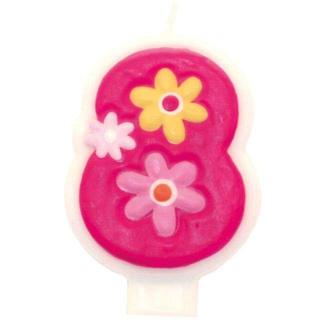 """Świeczka na tort """"Pink daisy 8"""", AMSCAN"""