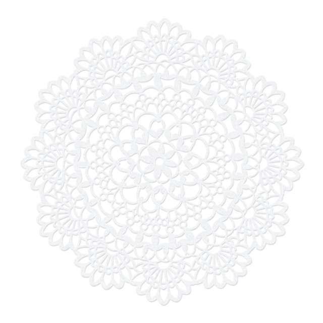 Serwetka dekoracyjna, okrągła, biała, 5 cm, 10 szt
