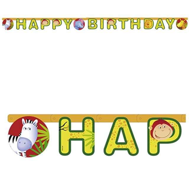 """Girlanda """"Happy Birthday - Safari"""", AMSCAN, 180 cm"""