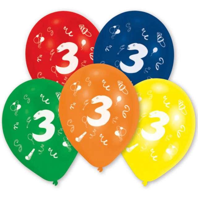 """Balony """"3 Urodziny"""", mix, 10"""", AMSCAN,  10 szt"""