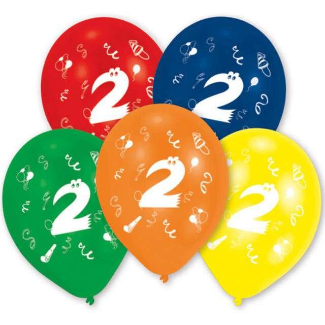 """Balony """"2 Urodziny"""", mix, 10"""", AMSCAN,  10 szt"""