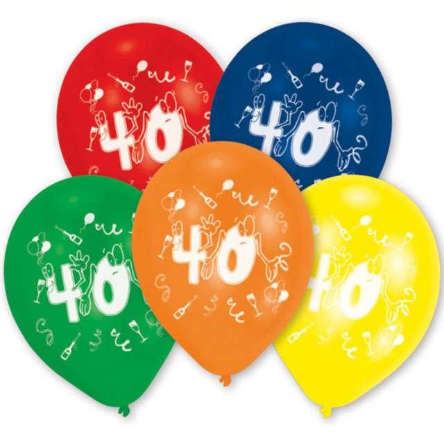 """Balony """"40 Urodziny"""", mix, 10"""", AMSCAN,  10 szt"""