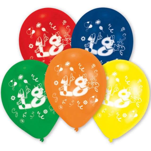"""Balony """"18 Urodziny"""", mix, 10"""", AMSCAN,  10 szt"""